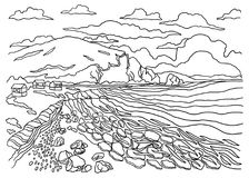 Template for coloring. Landscape painting. Large rocky coast. Large rocky coast, highlands, small houses, sky with clouds Stock Photo