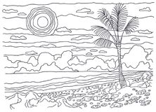 Template for coloring. Lonely palm tree Stock Image
