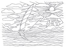 Template for coloring. Sea coloring. Landscape painting. Sailboat in the sea, sun, rays, light, heat, clouds, shore Royalty Free Stock Image