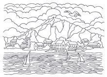 Template for coloring. Sea coloring. Landscape painting. Sea, waves, tranquility, sailboats, coast, houses, trees and bushes, moun stock illustration