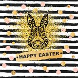 Template concept with Bunny head isolated on striped background. Vector design element for Happy Easter Day, party invitation, greeting card, web, postcard Royalty Free Stock Image