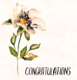 Template for congratulation card with decorative wild flower Stock Photo