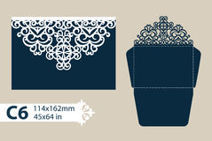 Template congratulatory envelope with carved openwork pattern Royalty Free Stock Image