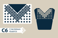 Template congratulatory envelope with carved openwork pattern. Layout congratulatory envelope with carved openwork pattern. The template for greetings stock illustration