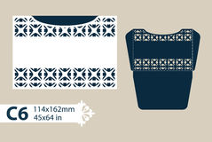 Template congratulatory envelope with carved openwork pattern. Layout congratulatory envelope with carved openwork pattern. The template for greetings vector illustration