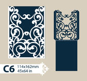 Template congratulatory envelope with carved openwork pattern. Layout congratulatory envelope with carved openwork pattern. The template for greetings royalty free illustration
