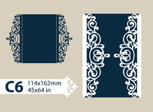 Template congratulatory envelope with carved openwork pattern. Layout congratulatory envelope with carved openwork pattern. The template for greetings Stock Photo