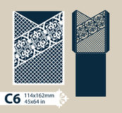 Template congratulatory envelope with carved openwork pattern. Layout congratulatory envelope with carved openwork pattern. The template for greetings Royalty Free Stock Photography
