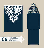 Template congratulatory envelope with carved openwork pattern. Layout congratulatory envelope with carved openwork pattern. Template is suitable for greeting Stock Photo
