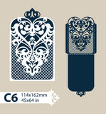 Template congratulatory envelope with carved openwork pattern Stock Photos