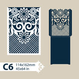 Template congratulatory envelope with carved openwork pattern. Layout congratulatory envelope with carved openwork pattern. Template is suitable for greeting Stock Photography