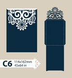 Template congratulatory envelope with carved openwork pattern Royalty Free Stock Images