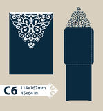 Template congratulatory envelope with carved openwork pattern Royalty Free Stock Photography