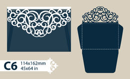 Template congratulatory envelope with carved openwork pattern Stock Images