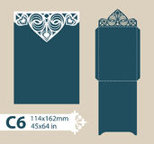 Template congratulatory envelope with carved openwork pattern. Layout congratulatory envelope with carved openwork pattern. Template is suitable for wedding Royalty Free Stock Image