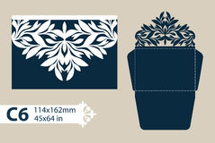 Template congratulatory envelope with carved openwork pattern. Template is suitable for greeting cards, invitations, etc. Picture suitable for laser cutting or Royalty Free Stock Photography