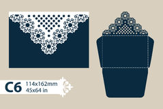 Template congratulatory envelope with carved openwork pattern. Template is suitable for greeting cards, invitations, etc. Picture suitable for laser cutting or stock illustration