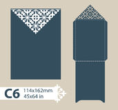 Template congratulatory envelope with carved openwork pattern. Template is suitable for greeting cards, invitations, menus, etc. Picture suitable for laser stock illustration