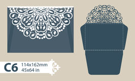Template congratulatory envelope with carved openwork pattern. Template is suitable for greeting cards, invitations, menus, etc. Picture suitable for laser Stock Images