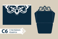 Template congratulatory envelope with openwork carved pattern Royalty Free Stock Photography