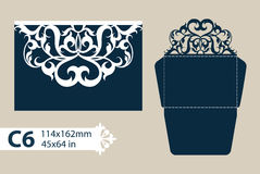 Template congratulatory envelope with openwork carved pattern Stock Images