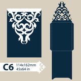 Template congratulatory envelope with openwork carved pattern Royalty Free Stock Photos