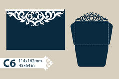 Template congratulatory envelope with openwork carved pattern. Layout congratulatory envelope with carved openwork pattern. The template for greetings royalty free illustration