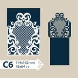 Template congratulatory envelope with openwork carved pattern. Layout congratulatory envelope with carved openwork pattern. The template for greetings vector illustration