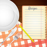 Template for a cookbook. Plate, fork and knife. Red checkered tablecloth on wooden table. Cooking Notebook. Vector illustration Royalty Free Stock Photography