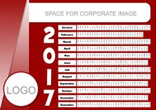 Template for corporate calendar 2017 in dark red color. Unusual calendarium. In  horizontally oriented strips, place for company logo and text information Stock Images