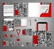 Template corporativo para artes -finais do negócio Ajuste com projeto geométrico preto e branco Imagem de Stock