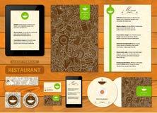 Template corporativo per le illustrazioni di affari Caffè, stile costante del ristorante Immagini Stock