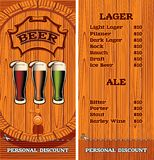 Template for the cover of the beer menu. Vector template for the cover of the beer menu vector illustration