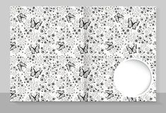 Template cover of a copybook with an individual design: butterflies. Pattern. Vector illustration royalty free illustration