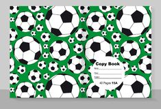 Template cover of a copybook with an individual design: football. Pattern. Vector illustration Royalty Free Stock Photos