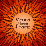 Template cover with doodle flames and a round frame for text. Vector template for cards, greeting cards, posters, and your design Stock Photo