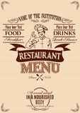 Template for cover of menu with chef Stock Photography
