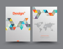 Template Cover with pieces of colored paper triangles. Use for book, brochure, flyer, poster, booklet, leaflet, cd cover design, postcard, business card Royalty Free Stock Photos
