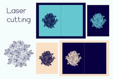 Template of cover for wedding or greeting for laser cutting. Template of cover of wedding invitation or greeting card with roses wreath for laser cutting royalty free illustration
