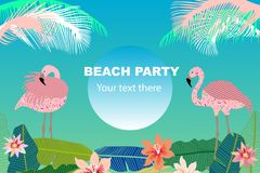 Beach Party card. Retro design with  palm leaves, tropical fowers and pink flamingos. Template for covers, banners, flyers, wedding invitations. On blue Stock Photo