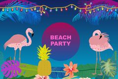 Beach Party card. Retro design with  palm leaves, tropical fowers and pink flamingos. Template for covers, banners, flyers, wedding invitations. On blue Royalty Free Stock Image