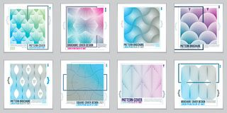 Template for Covers, Placards, Posters, Flyers and Banners Desig. Ns. Cool geometric vector set line backgrounds for your designs. Minimalistic brochure designs stock illustration