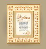 Template creative diploma on the basis of floral ornament. Vector illustration Stock Image