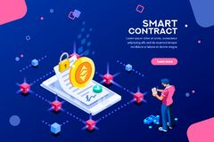 Template Cryptography for Smart Contract. Cryptography infographics, contract concept. Contractor develop payment deal. Pay chain to block document for trade royalty free illustration