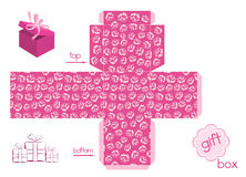 Template For Cute Gift Box. Template for gift box of cube form with elegant pattern with roses. Pattern endless in any edge. Easy for installation - light pink Stock Images
