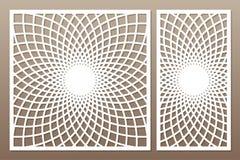 Template for cutting. Mandala, Arabesque pattern. Laser cut. Set. Ratio 1:1, 1:2. Vector illustration royalty free illustration