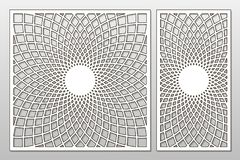 Template for cutting. Mandala, Arabesque pattern. Laser cut. Set. Ratio 1:1, 1:2. Vector illustration royalty free illustration