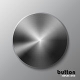 Template of dark iron disk or button. Template of round metal disk or button with dark steel texture isolated on gray scale background Royalty Free Stock Images