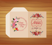 Template for decorative folder with flower Royalty Free Stock Image