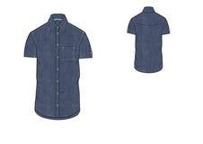 Template of Denim Short Sleeve Shirt design  Stock Images